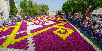 Gardens in Istanbul Decorated With Tulip and the Largest Carpet in Sultanahmet