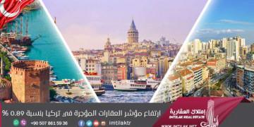ارتفاع مؤشر العقارات المؤجرة في تركيا بنسبة 0.89%