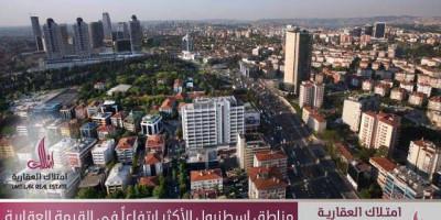 مناطق اسطنبول الأكثر ارتفاعاً في القيمة العقارية