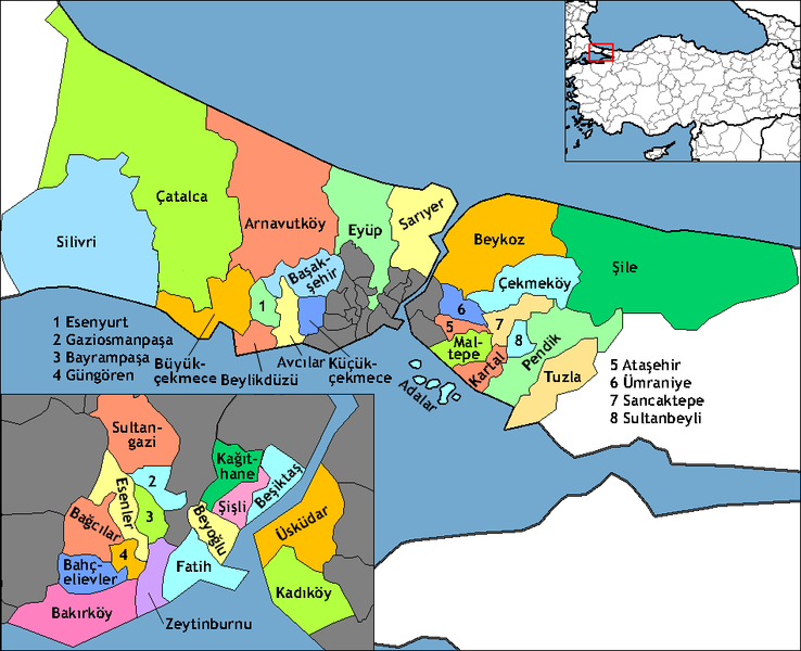 Map of Istanbul in English